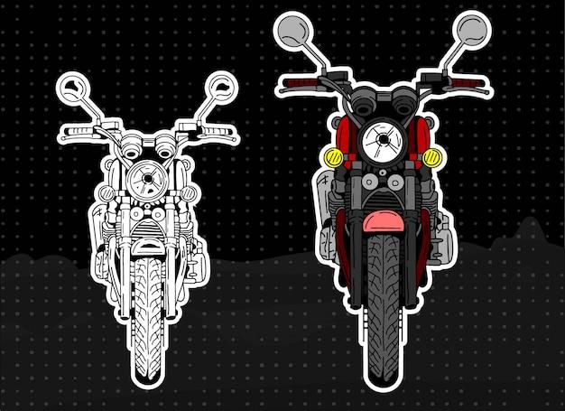 Voor- en lijn motorfiets illustratie Premium Vector