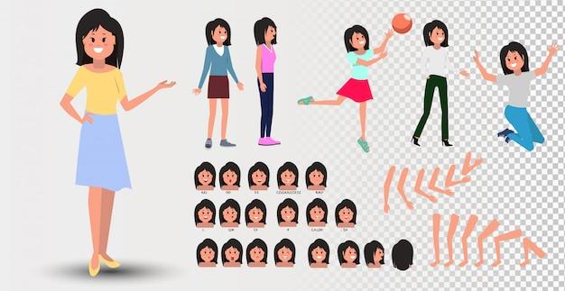 Voor-, zij-, achteraanzicht geanimeerd karakter. creatie van tienermeisjes met verschillende weergaven, kapsels, gezichtsemoties Premium Vector