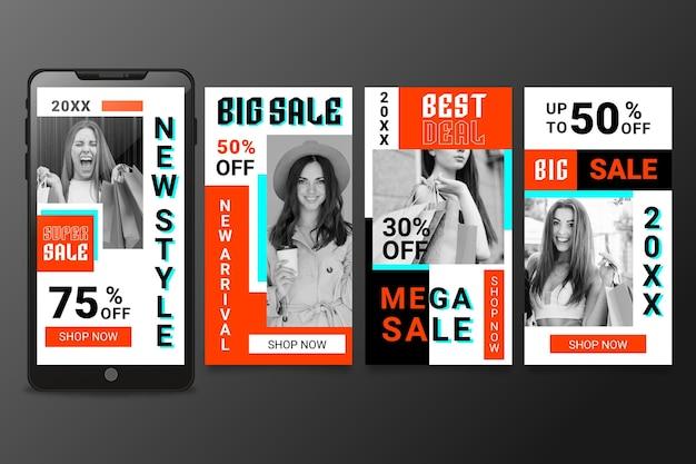 Vooraanzicht model vrouw zuur verkoop instagram verhalen Gratis Vector