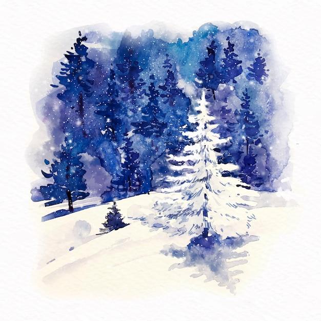 Vooraanzicht mooie boom met sneeuw Gratis Vector