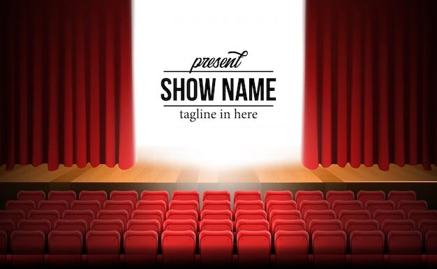 Vooraanzicht theater filmpodium met rode gordijn achtergrond en houten vloer en lege rode stoelen Premium Vector