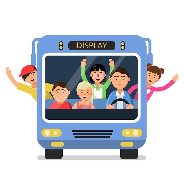 Vooraanzicht van schoolbus met set van gelukkige kinderen en bestuurder Premium Vector