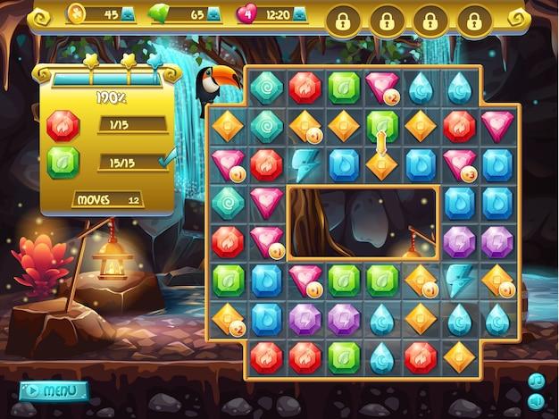 Voorbeeld van de gebruikersinterface en het speelveld voor een computerspel drie op een rij. schattenjacht Premium Vector