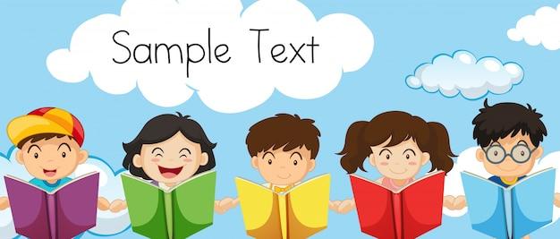 Voorbeeldtekstsjabloon met kinderen die boeken lezen Gratis Vector