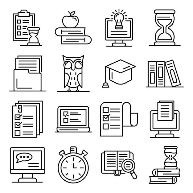 Voorbereiding voor examens iconen set, kaderstijl Premium Vector