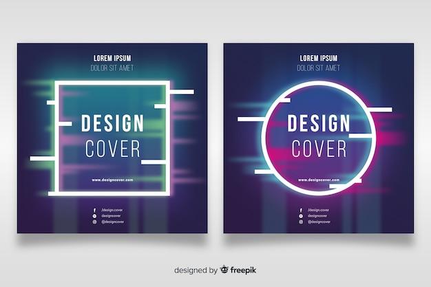 Voorbladsjabloon met kleurrijke glitch effect set Gratis Vector