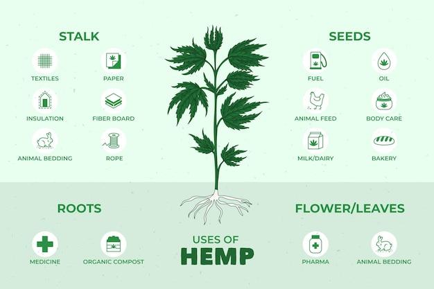 Voordelen van cannabis hennep Gratis Vector