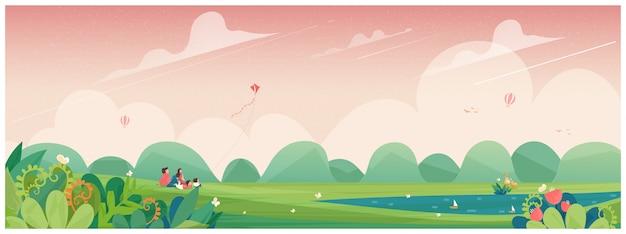 Voorjaar. familie-uitje naar het park of picknick op het platteland met vlieger, bloemenbloesem en herten. concept van mensen in de lente. Premium Vector