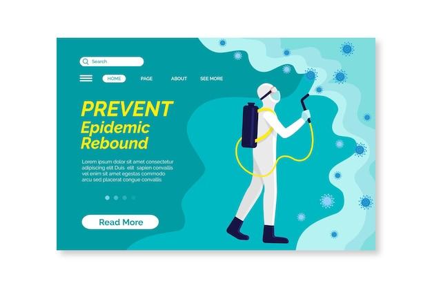 Voorkom epidemische rebound-bestemmingspagina-sjabloon Gratis Vector