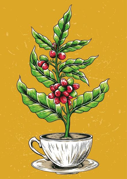 Voorraad vector koffie boom in koffiemok Premium Vector
