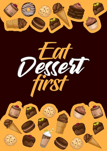 Voorraad vector set van dessert object illustratie Premium Vector