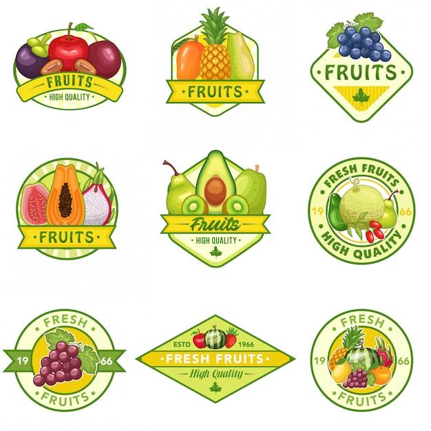 Voorraad vector set van fruit logo Premium Vector