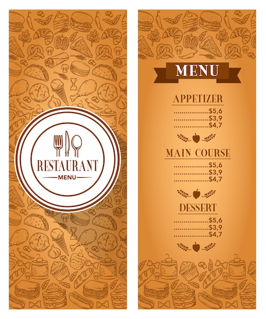 Voorraad vector sjabloon restaurant menu Premium Vector