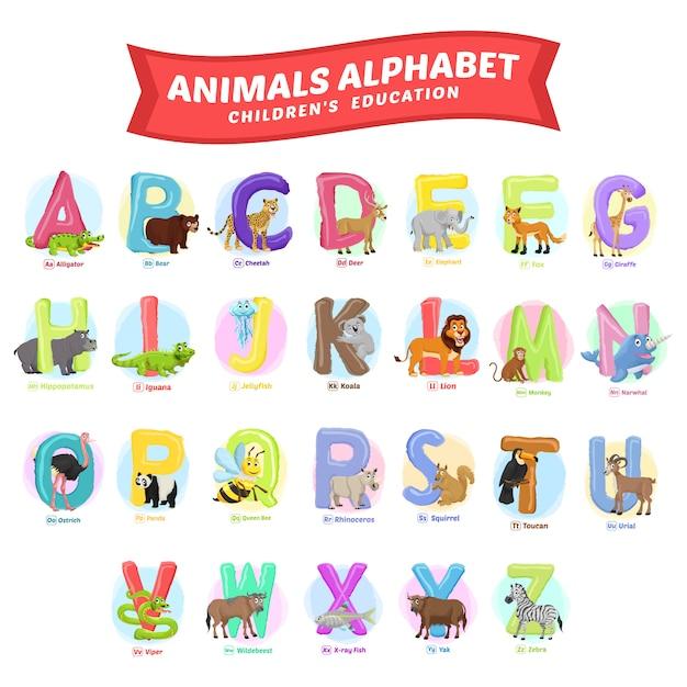 Voorraad vector van schattige dieren alfabet. dier voor onderwijs Premium Vector