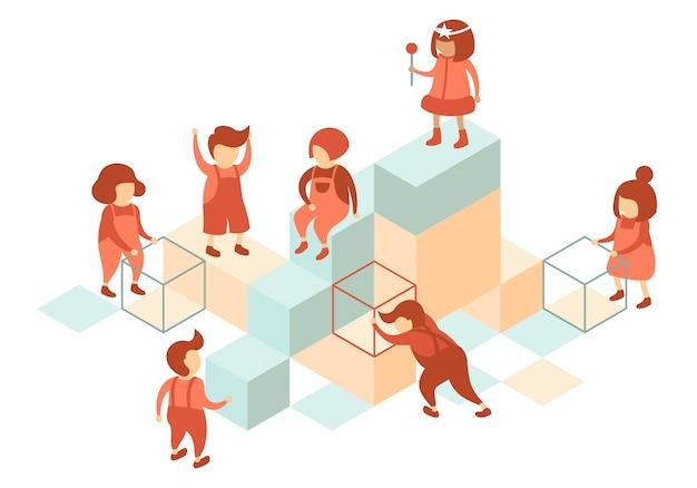 Voorschoolse kinderen gebruiken kubussen om op de speelplaats te spelen Premium Vector