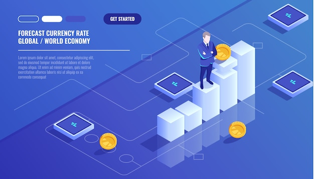Voorspelde muntkoers, zakenman verblijf op grafische grafiek, bedrijfsdiagram Gratis Vector