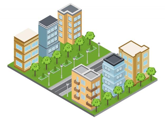 Voorstadsgebouwen en buurt met isometrische herenhuizen en appartementen Gratis Vector