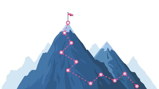 Voortgangspad in de bergen. klimmen voortgangsroute, bergtop overwinnen, bergbeklimmingspad met rode vlag bovenaan illustratie. weg pad infographic, voortgang weg naar piek Premium Vector