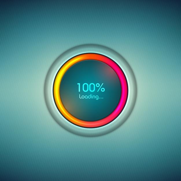 Vooruitgang laden icoon met kleurrijke schaal. laadbalk voor laden van digitaal teken. Premium Vector