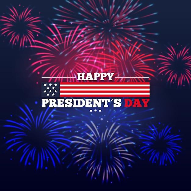 Voorzitters dag evenement feest met vuurwerk thema Gratis Vector