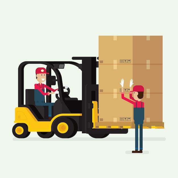 Vorkheftruck met menselijke arbeider en dozen Premium Vector