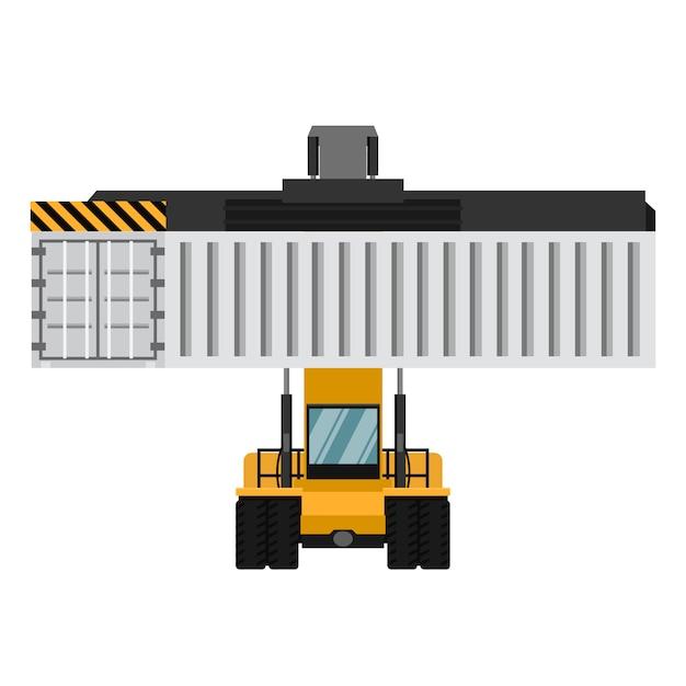 Vorkheftrucks voor containers. Premium Vector