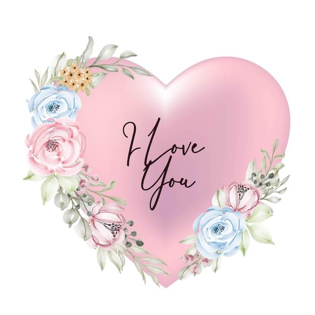 Vorm valentijn roze decoratie met ik hou van je woord script aquarel bloem Gratis Vector