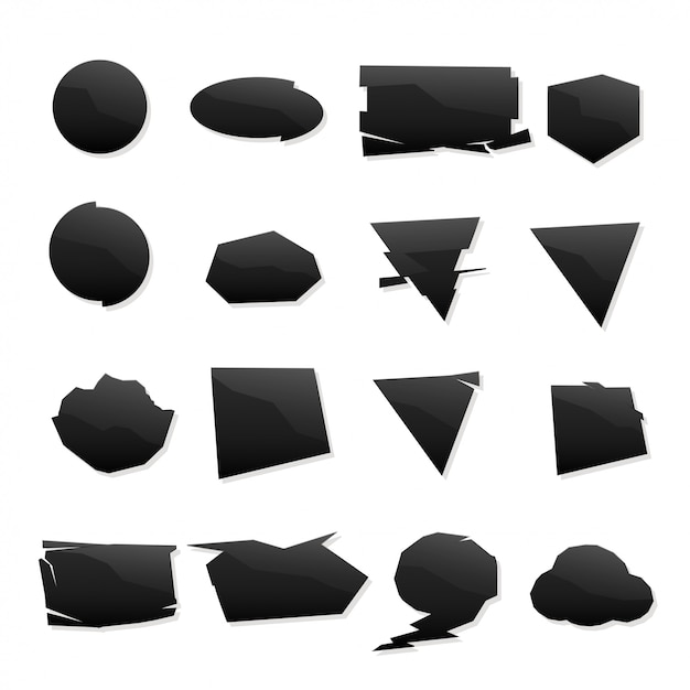 Vorm zwarte pictogrammen instellen Premium Vector