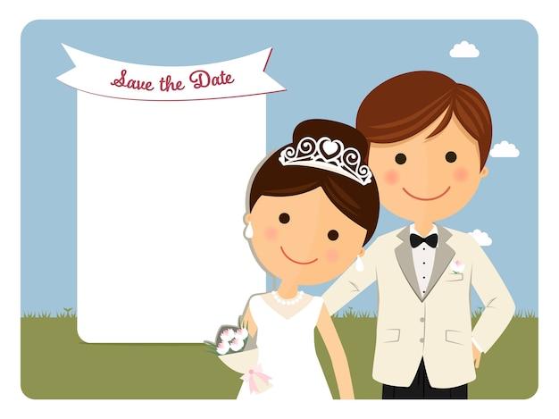 Vorstelijk stijlpaar voor huwelijksuitnodiging op blauwe achtergrond Premium Vector