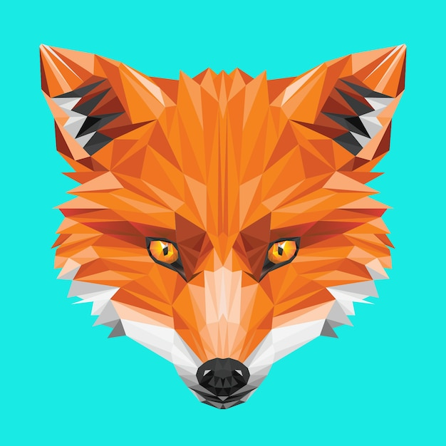 Vos laag poly oranje hoofd wild oog Premium Vector