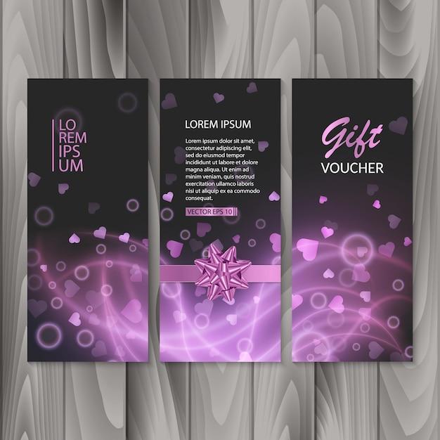 Voucher, cadeaubon. geschenkbanners, ontwerp met abstract roze licht Premium Vector