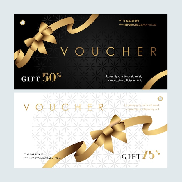 Vouchers met gouden lint Premium Vector
