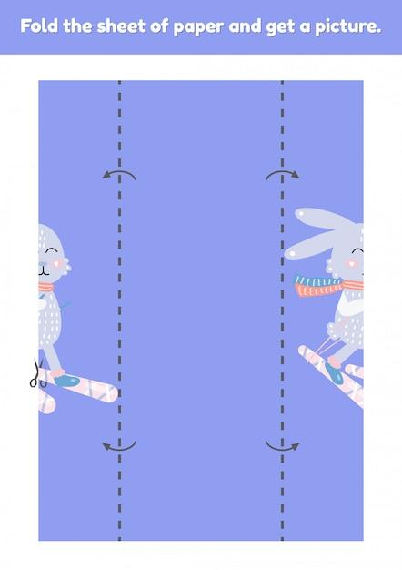 Vouw het vel papier en krijg een foto van schattige haas op ski. educatief spel voor kinderen. werkblad voor kleuterschool en voorschoolse leeftijd. Premium Vector