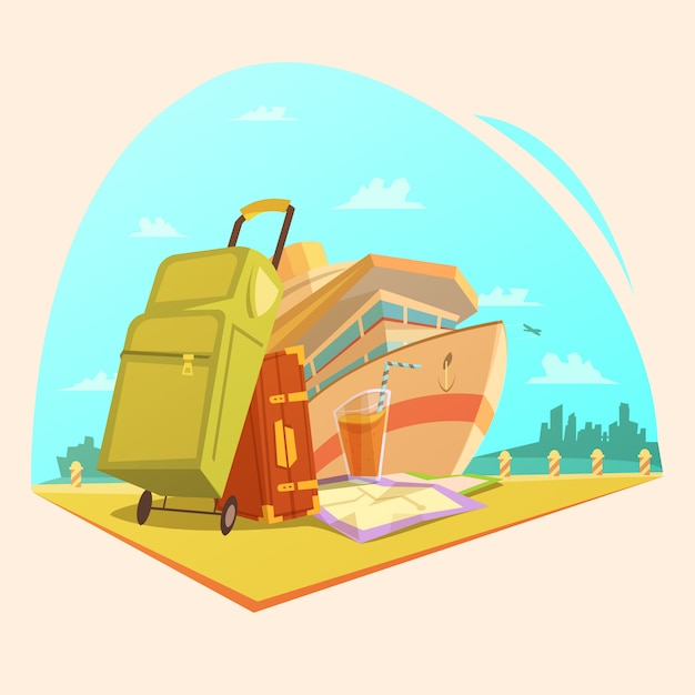 Voyage cartoon concept Gratis Vector