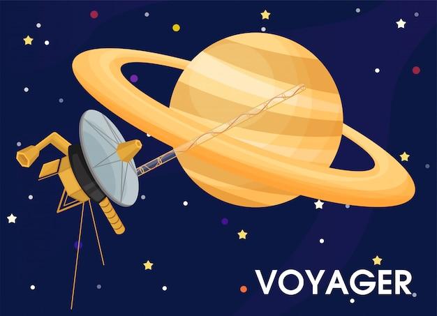 Voyager. het ruimtevaartuig werd gestuurd om de ringen van saturnus te verkennen. Premium Vector