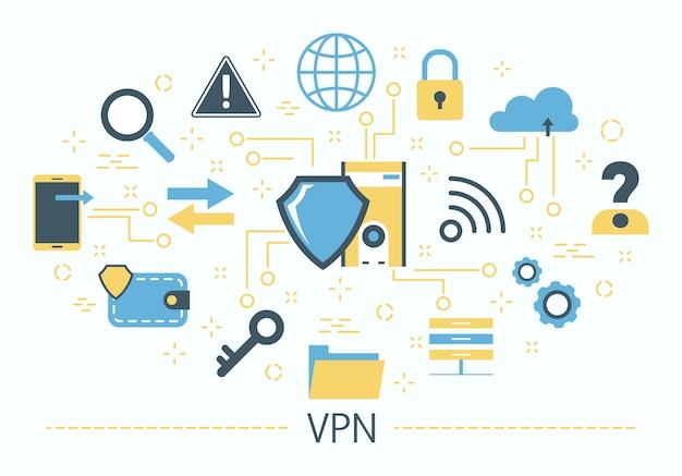 Vpn-concept. idee van privacy en veiligheid. modern Premium Vector