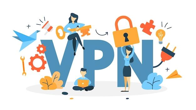 Vpn concept illustratie Premium Vector