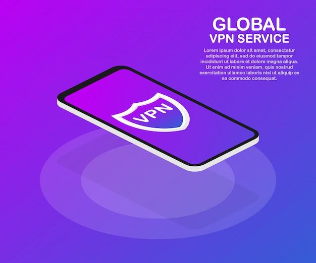 Vpn-connectiviteit. beveiligd virtueel privaat netwerk verbindingsconcept. isometrisch in ultraviolette kleuren. Premium Vector