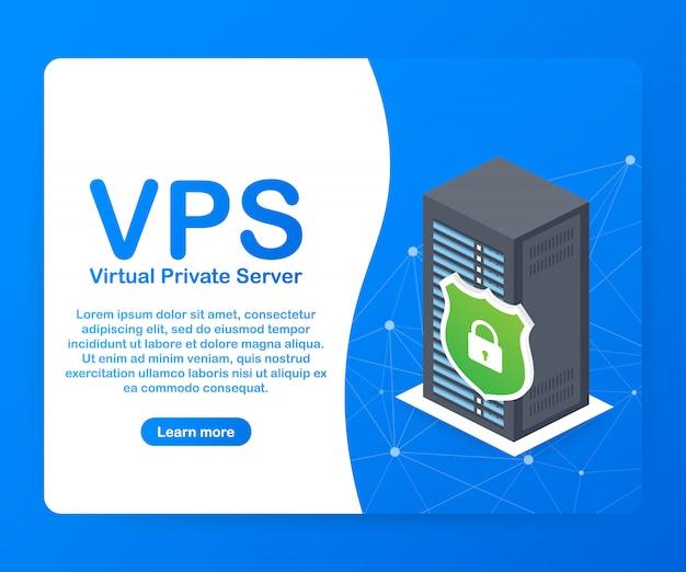 Vps virtual private server webhosting services infrastructuurtechnologie. Premium Vector