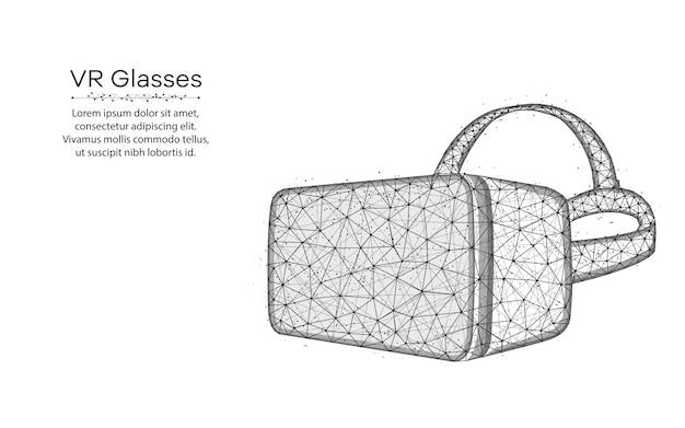 Vr-bril laag poly-ontwerp, virtual reality-bril draadframe mesh veelhoekige vector illustratie gemaakt van punten en lijnen Premium Vector