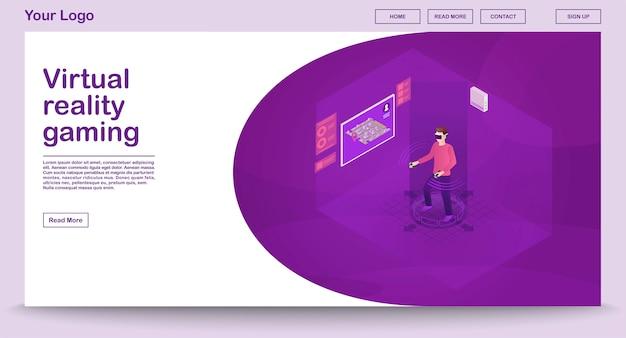Vr gaming webpagina sjabloon met isometrische illustratie Premium Vector