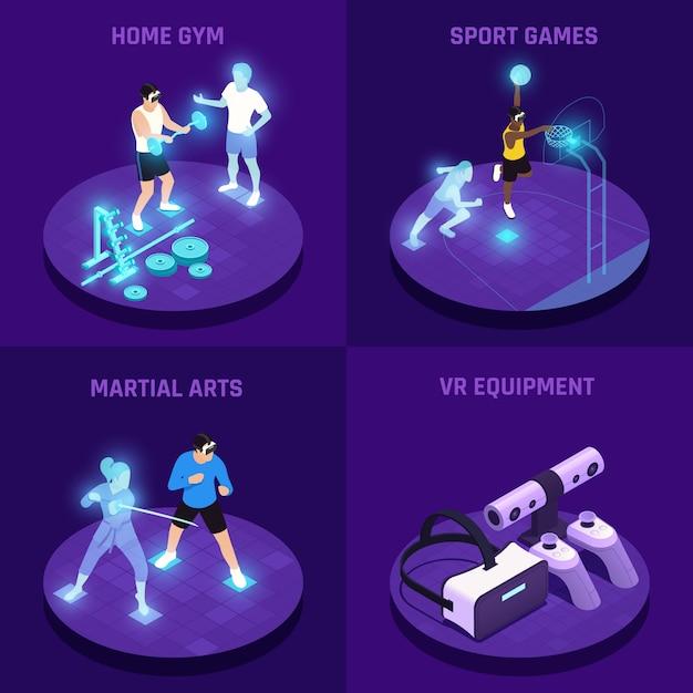 Vr sport isometrisch concept met virtual reality-apparatuur thuisgymnastiek vechtsportspelen geïsoleerd Gratis Vector