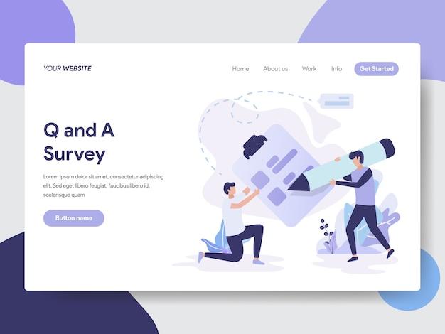Vraag en antwoord enquête illustratie voor webpagina Premium Vector