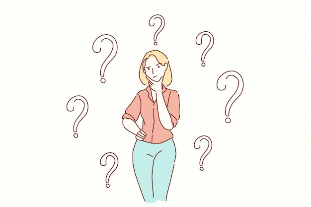 Vraag, taak, probleem, gedachten concept. Premium Vector