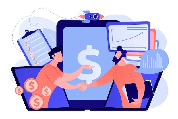 Vraaganalisten schudden elkaar de hand vanaf laptopschermen en plannen toekomstige vraag. vraagplanning, vraaganalyse, digitale verkoopprognose concept illustratie Gratis Vector
