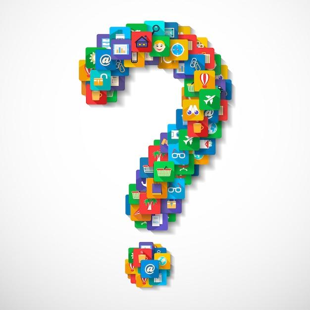 Vraagteken gemaakt van mobiele applicatie reis iconen concept vector illustratie Gratis Vector
