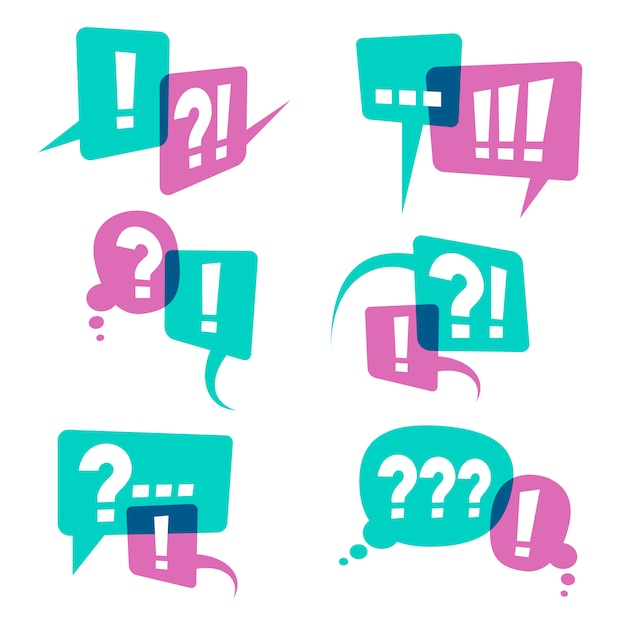 Vraagtekens op spraak bubbels pictogrammen, bedrijfsquery concept Premium Vector