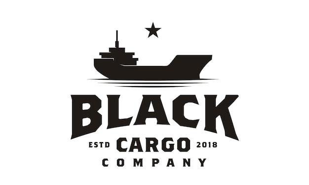 Vrachtschip logo ontwerp Premium Vector
