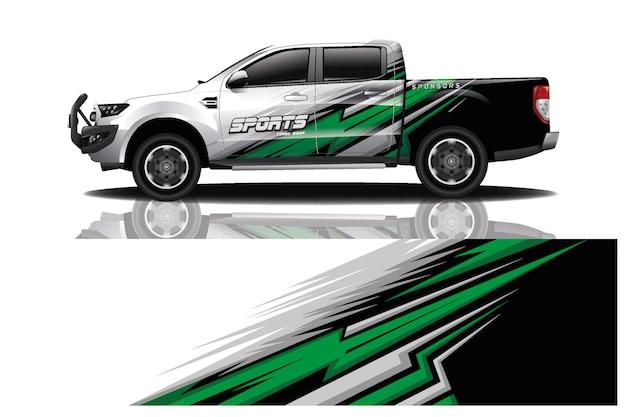 Vrachtwagen auto sticker wrap illustratie Premium Vector