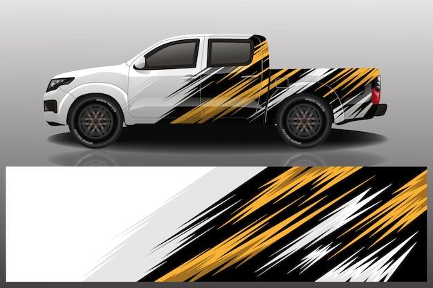 Vrachtwagen auto sticker wrap ontwerp Premium Vector